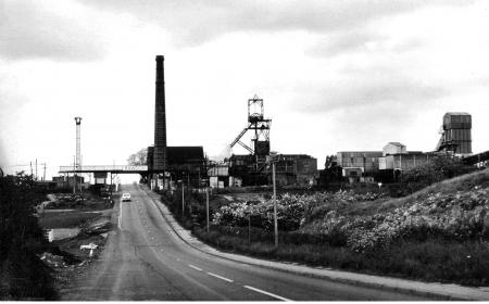 Black and white image of mining landscape in the National Forest